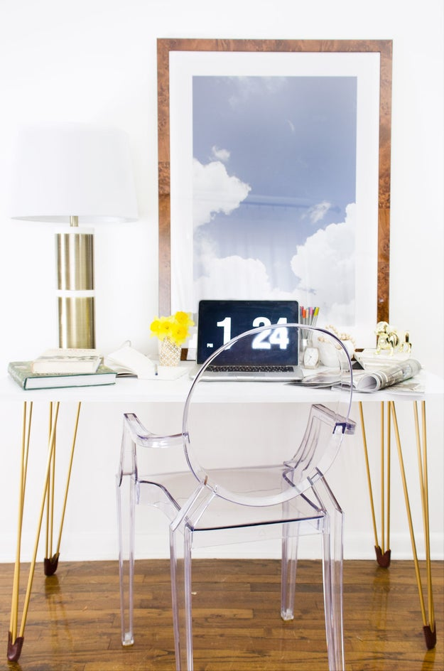 Upgrade an Ikea desk with gold hairpin legs.