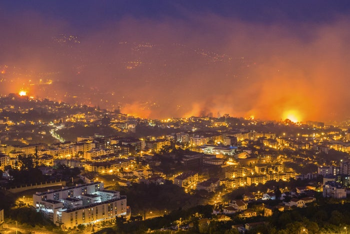 Fires near Funchal, the capital of Madeira, on Tuesday night.