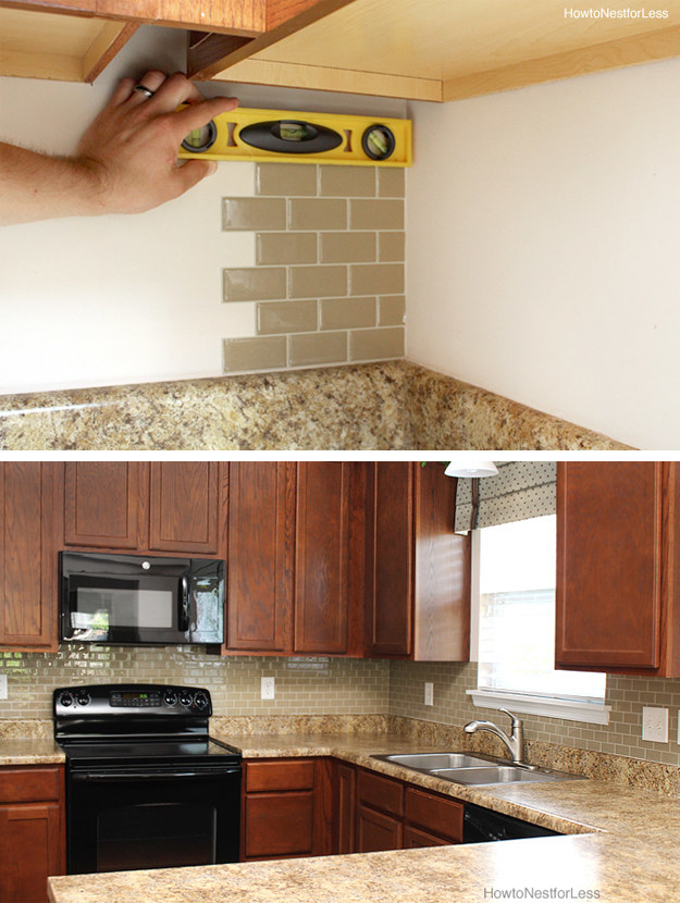 Use peel-and-stick tiles to make your backsplash look brand new (and to make it easier to clean than bare wall).