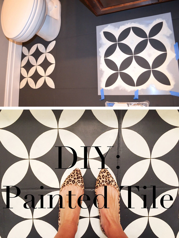 Imitate the look of trendy pressed-concrete patterned tiles without ripping out your floor — just paint, stencil, and seal.