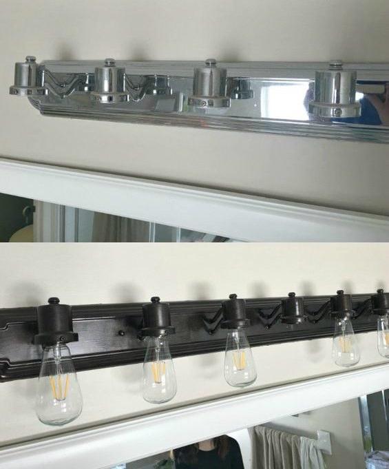 Update builders-grade light fixtures with Rustoleum's metallic paints and new light bulbs.