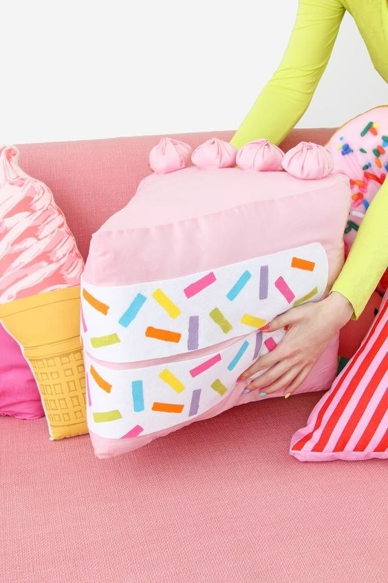 Turn your couch into a bakery display case with a no-sew Funfetti pillow.