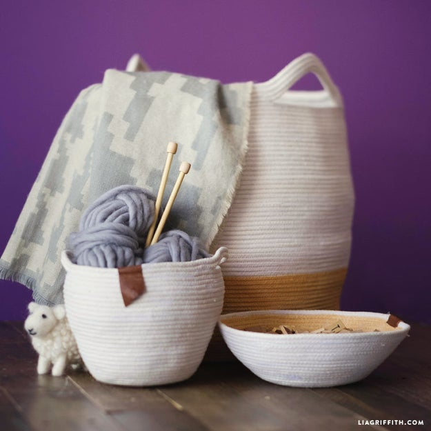 Form some baskets out of clothesline.