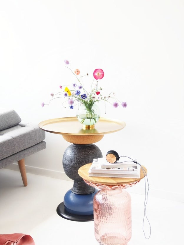 Turn bowls or vases into a statement side table.