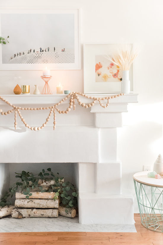 Use unfinished wooden beads to make a garland you'll want to leave up all year.