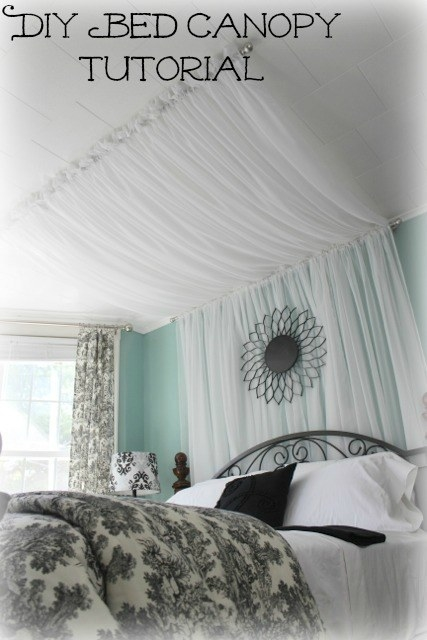 Hang Curtains Overhead From The Ceiling To Wall And Down Floor