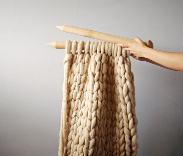 Knit the coziest blanket in existence with giant yarn.