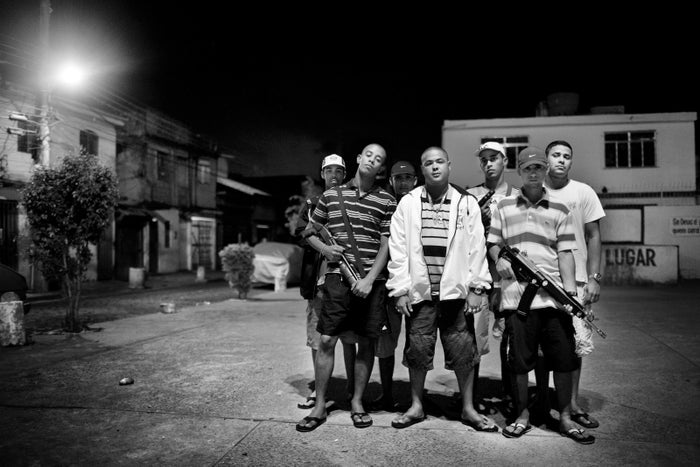 Vesguinho (center) and his gang control drug trafficking in Parque Royal, a neighborhood in Ilha do Governador, Rio de Janeiro, July 2008. This gang is part of a larger gang known as Terceiro Comando.