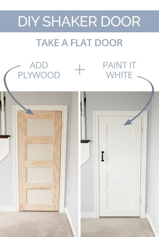 Secure plywood strips to a plain door and paint them white to give it some character.