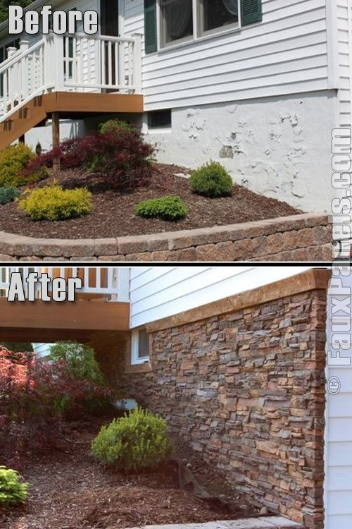 Install faux stone tiles to the outside of your house to disguise an ugly layer of foundation.