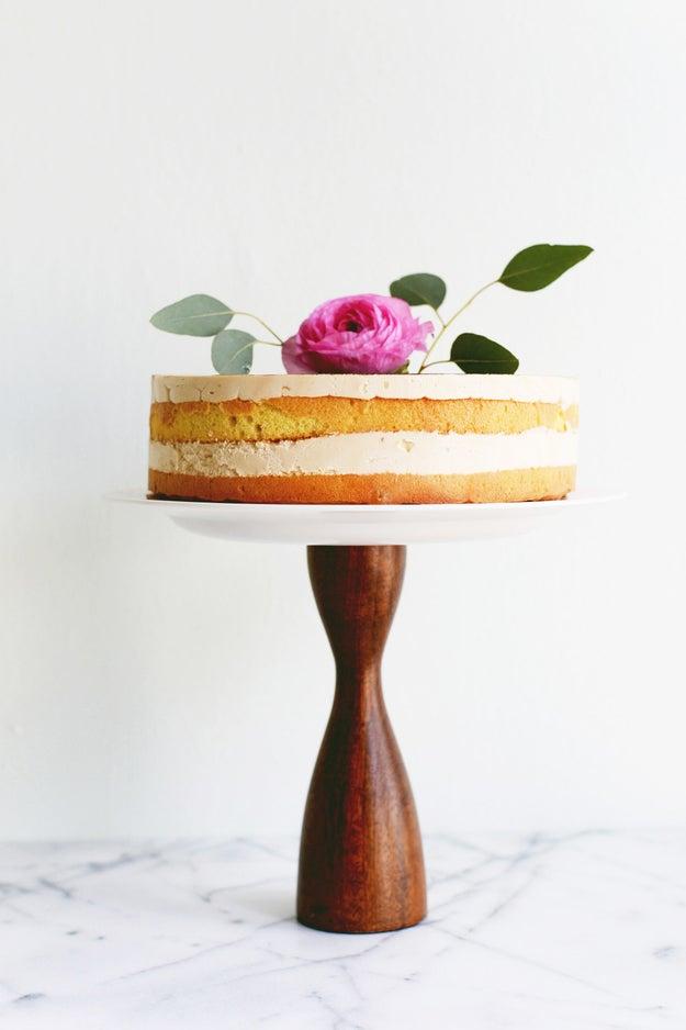 Transform a candlestick into a cake tray.