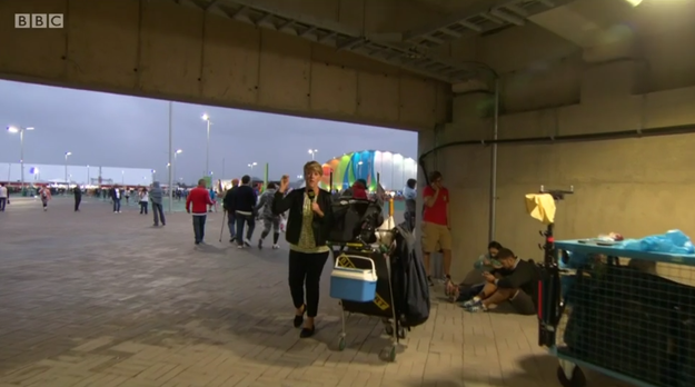 While watching Clare Balding presenting the BBC's Olympics coverage, you might be wondering what on earth it is she's standing next to when she's talking.
