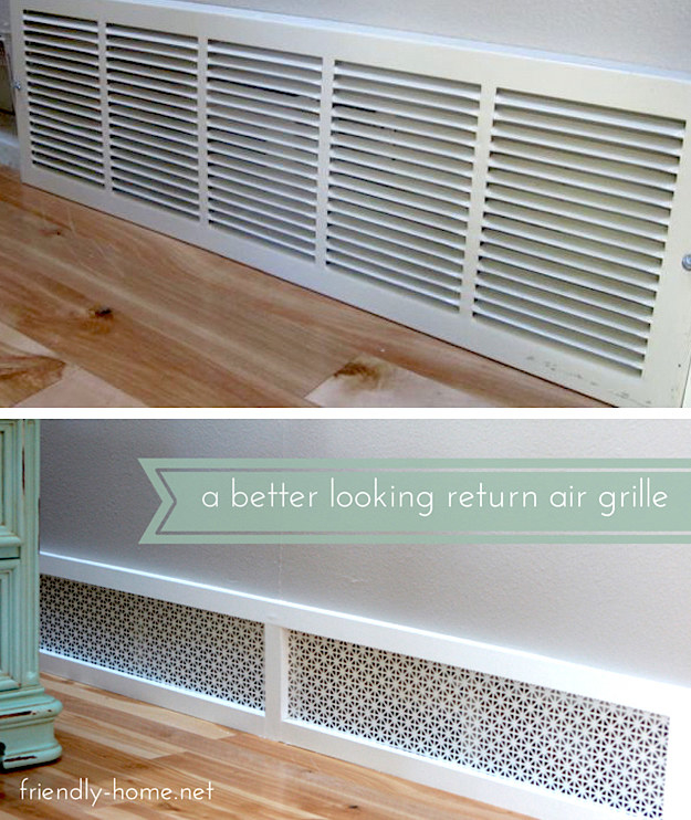 Replace your standard AC unit intake with prettier aluminum sheeting from your hardware store.