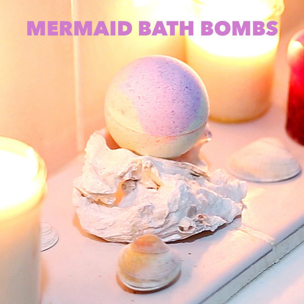 Create your own scented rainbow bath bombs using basic ingredients.
