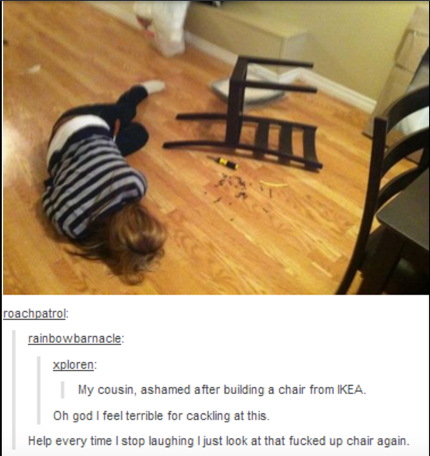 we all know the struggle that is trying to put together anything from ikea assembling ikea chair