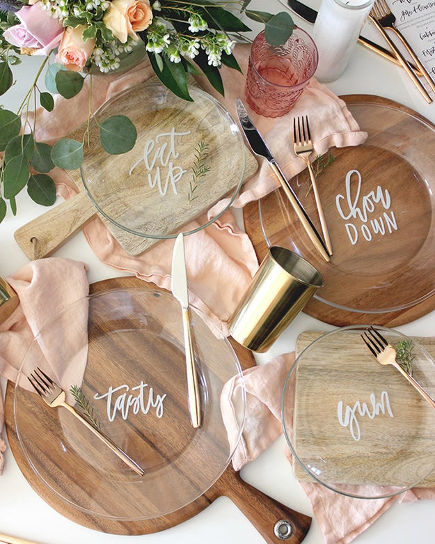 Add fun phrases to a set of plain glass plates.