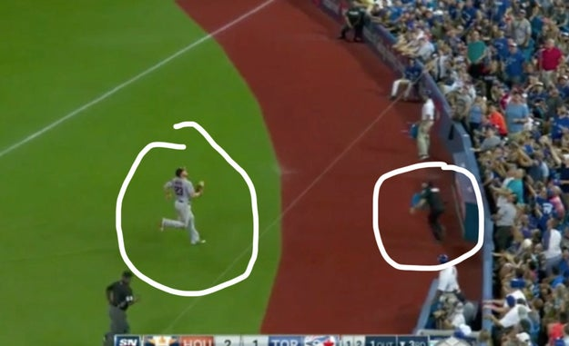 During Saturday's baseball game between the Toronto Blue Jays and the Houston Astros, outfielder AJ Reed made a run for the ball — right towards a cop working the game.