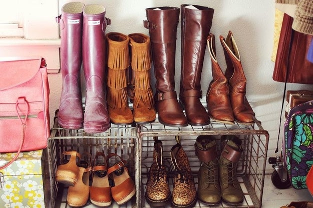 Layer your shoes using sturdy metal or milk crates instead of flimsy shoe shelves.