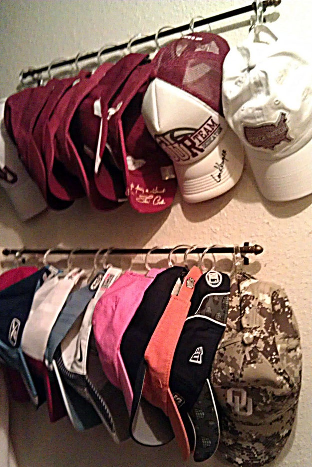 You can also try this trick with your cap collection using shower curtain rings and a curtain rod.