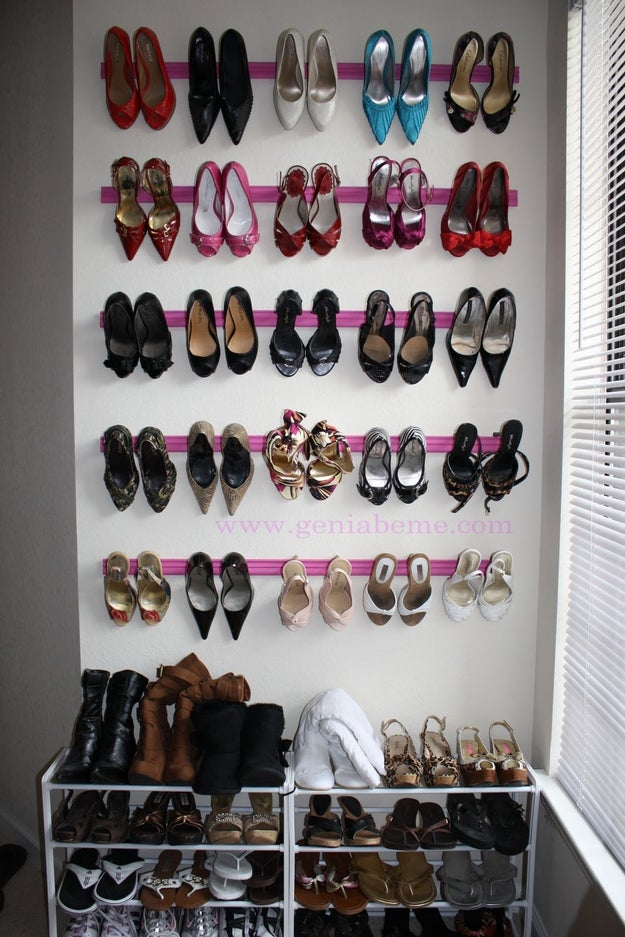 Easy! Nail up some crown molding style trim to hang up your fabulous heels! | geniabeme - Closet Organization Ideas and Space Saving Hacks