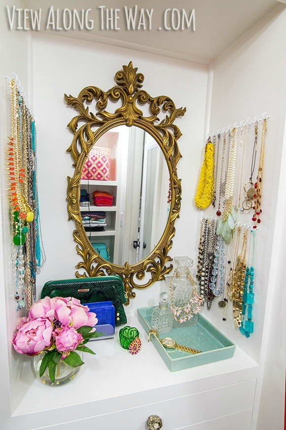 Keep your necklaces in order with simple wall hooks.