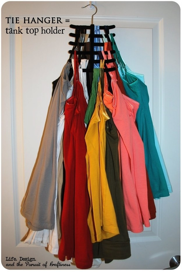You can also store your family of tanks on a tie hanger.