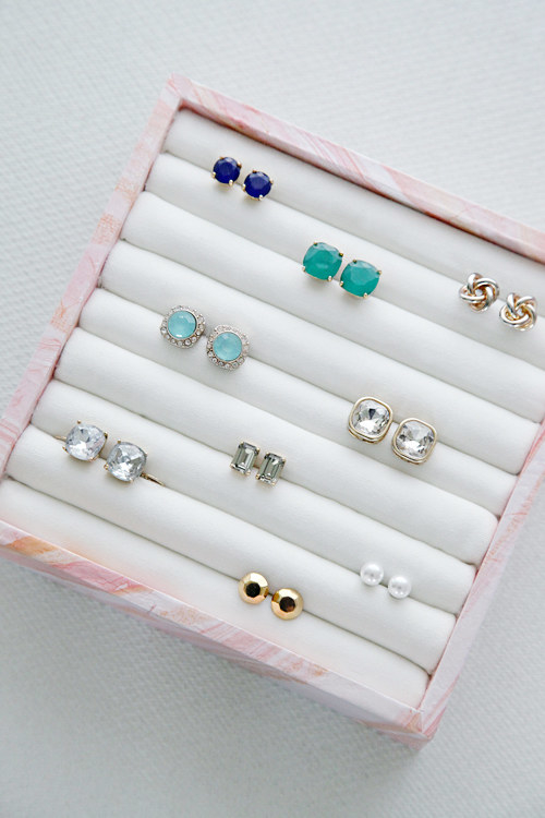 Make your own earring and ring storage box using a few supplies from the craft store.