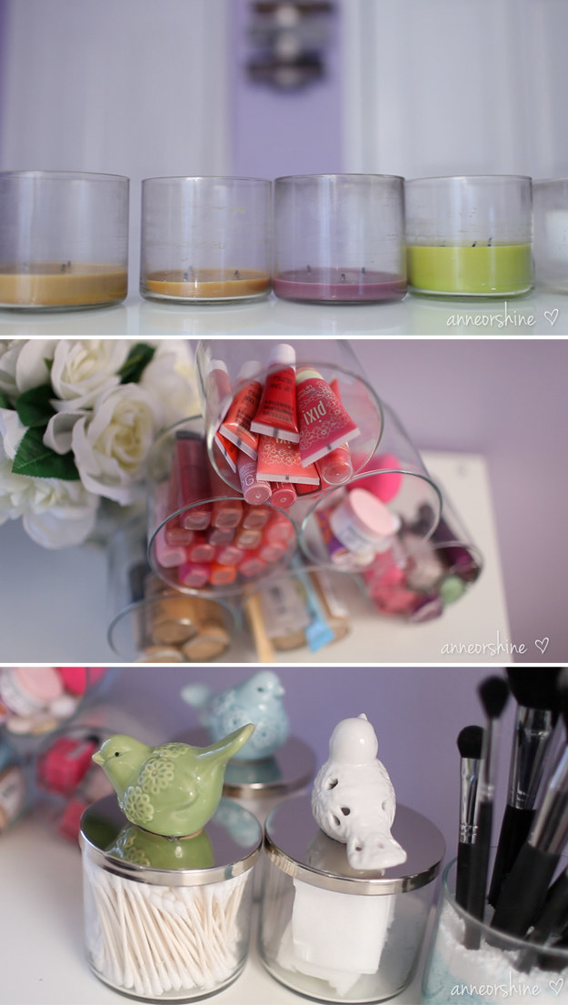 Clean out old candle jars and turn them into a makeup organizer and little storage jars.