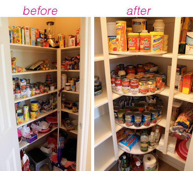 Stash lazy Susans in the corners of your pantry in order to make every inch of space easily accessible.