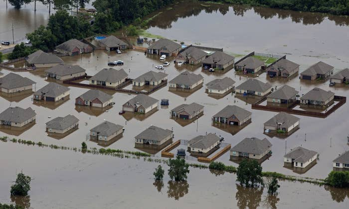 Flooded homes in Hammond.