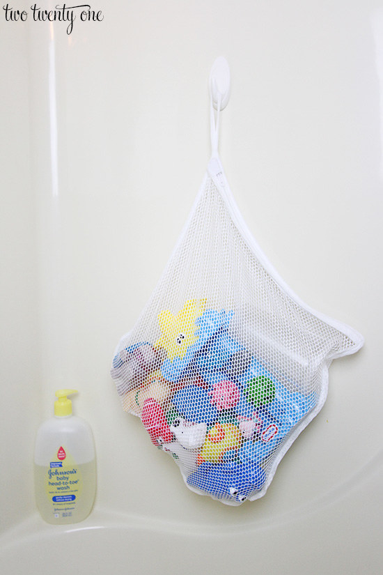 Hang a lingerie bag from a removable adhesive hook to let bath toys drip dry.