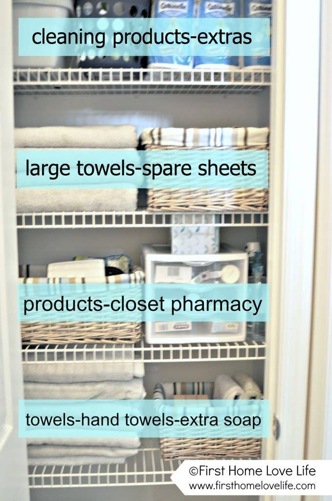 Fold your sheets and towels and store them in baskets in your linen closet  to keep things neat 42 Clever Organizing Ideas To Make Your Life So Much Easier. Things You Need For Your First Bathroom. Home Design Ideas