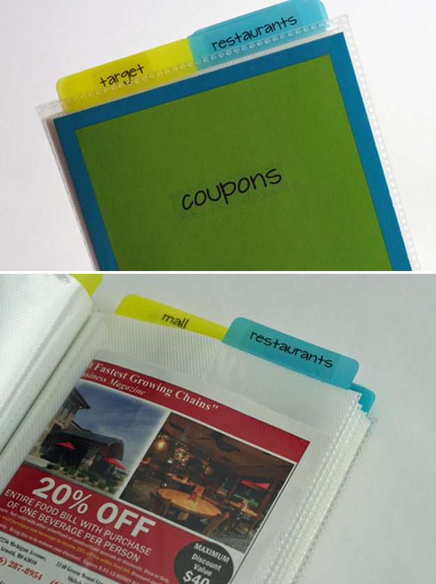 Convert an inexpensive 5x7-inch photo album into a neat and portable coupon organizer.