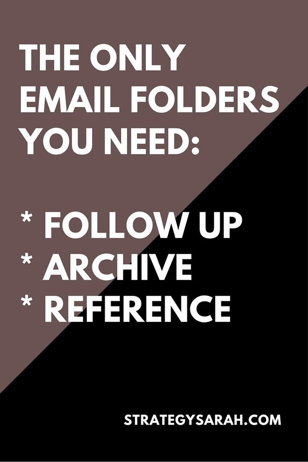 Instead of trying to hit Inbox Zero all the time (although it's great for you if you can), sort your emails into three simple folders: follow up, archive, and reference.