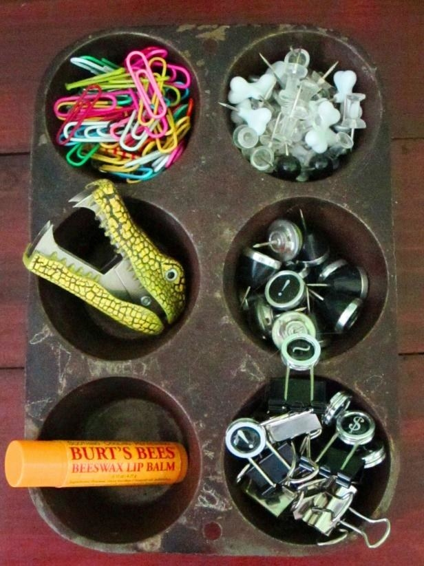 Repurpose a muffin tin as an easy-to-sort desk drawer organizer.