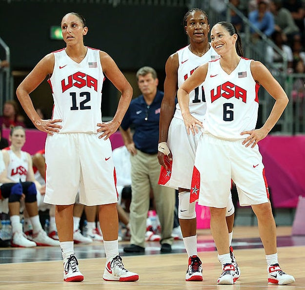 And veterans Diana Taurasi, Tamika Catchings, and Sue Bird have been there for the past three Olympic golds.