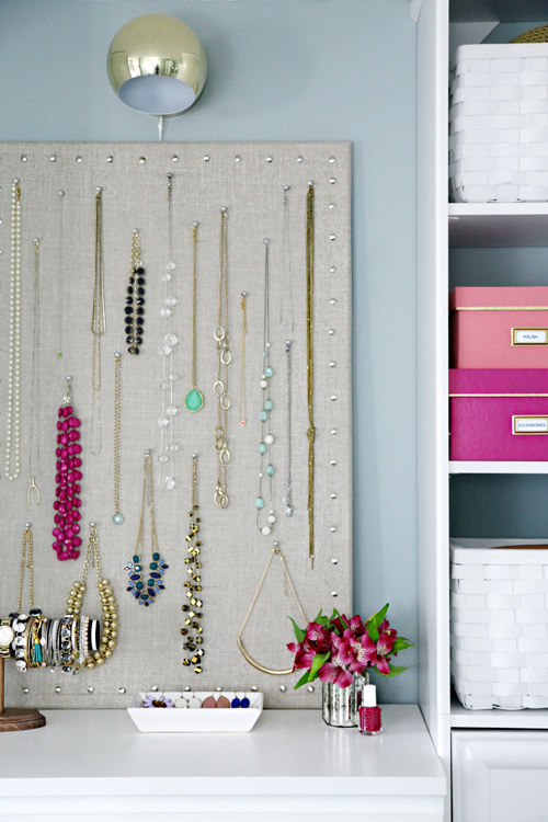 Display your necklaces so you can easily find what you want to wear, and so they don't get tangled.
