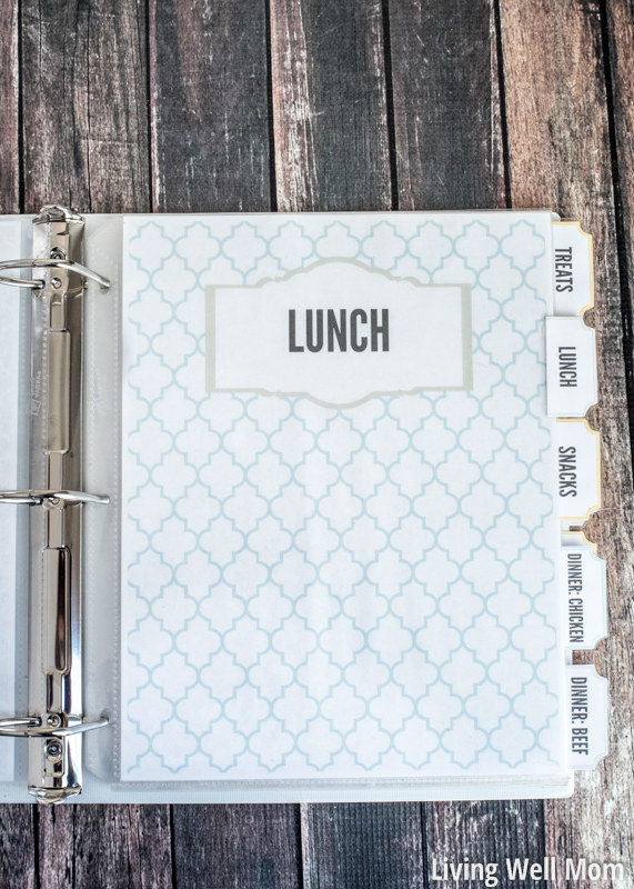 Fill a binder with clear sheet protectors, then use those to organize all of your favorite recipes.