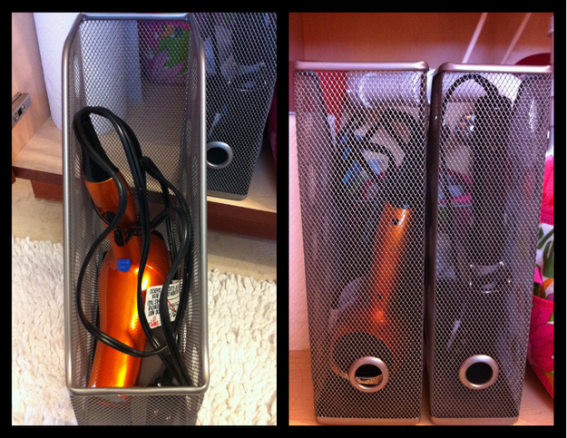 Stash your hairdryer and other hairstyling heat tools in metal magazine organizers under your sink.