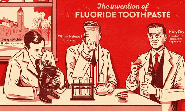 Indiana University dental scientist Joseph Muhler, Indiana University chemist William Nebergall, and head of the Indiana University chemistry department Harry Day made dental history in the 1950s. In a Procter & Gamble–funded research project, the trio was able to develop toothpaste that used stannous fluoride and a calcium pyrophosphate abrasive, revolutionizing dental care with the advent of fluoride toothpaste. P&G named the toothpaste Crest and began selling it nationally in 1956.