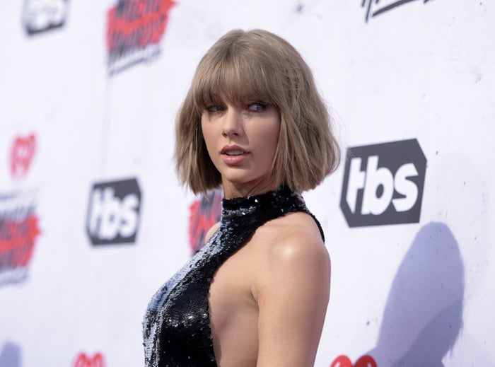 Taylor Swift arrives at the iHeartRadio Music Awards at The Forum in Inglewood, California, on April 3.