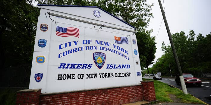 A view of the entrance to Rikers Island penitentiary complex.