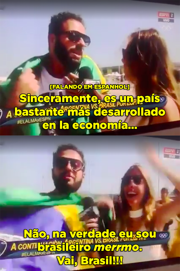 E quando este brasileiro sacaneou uma repórter da Argentina fingindo ser um argentino que tinha resolvido torcer pro Brasil.