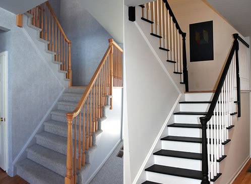 Dress up your stair railing with gel stain and paint.
