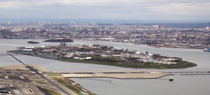 An aerial photograph of Rikers from 2012.