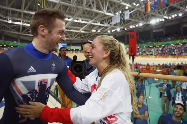They're both track cyclists, and last night, Trott won gold in women's omnium and Kenny got a gold for men's keirin, cementing their status as legends.