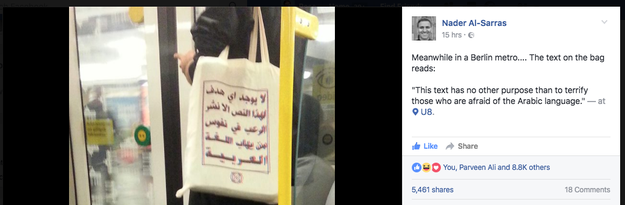 Nader al-Sarras, a journalist living in Berlin, spotted one of the bags on the metro at around 8 p.m. last night.
