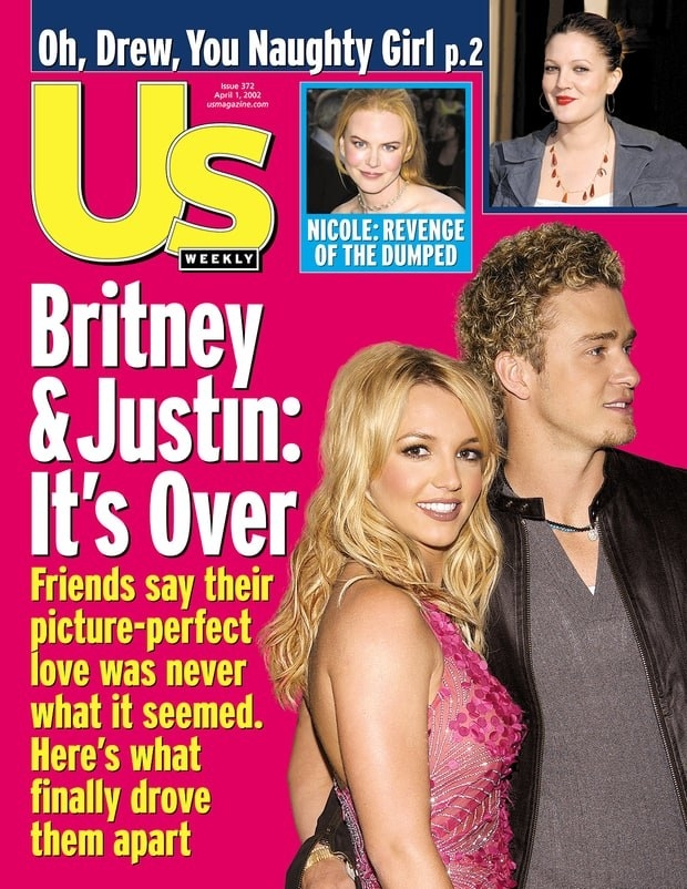 The cover is US Weekly with the headline, Britney & Justin: It's Over""