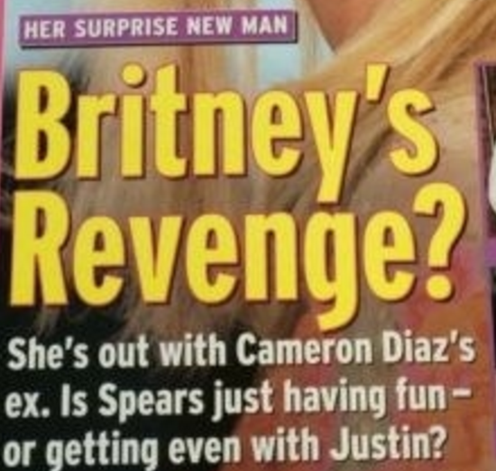 "Us Weekly cover headline: ""Her Surprise New Man, Britney's Revenge?"""