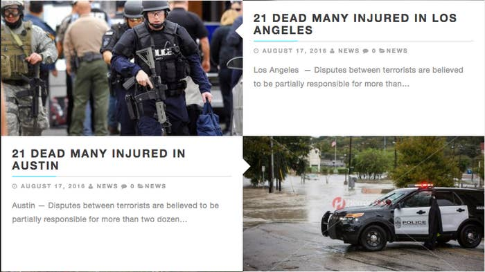 The stories all contain the same headline and body text, but have the location of the attack changed in order to target people in different areas.